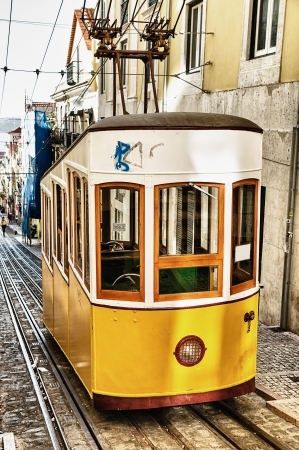 Bica funicular in Lisbon, Portugal  Stock Photo