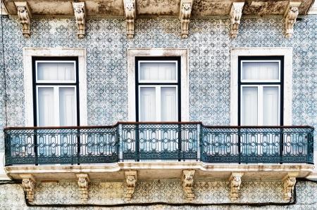 bairro: Bairro Alto windows in Lisbon, Portugal