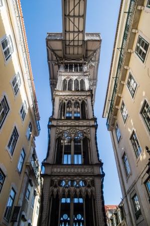 justa: Santa Justa Elevator in Lisbon, Portugal. Stock Photo