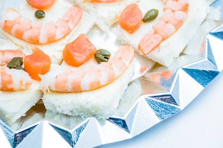 shrimp and salmon canape photo