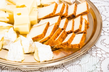 roquefort: Composition with different sorts of cheeses Stock Photo