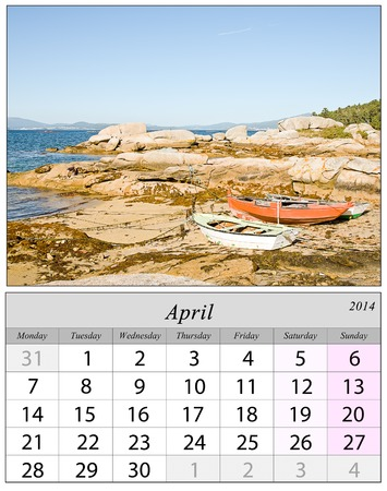 Calendar April 2014 with Boat in Galicia, Spain. photo