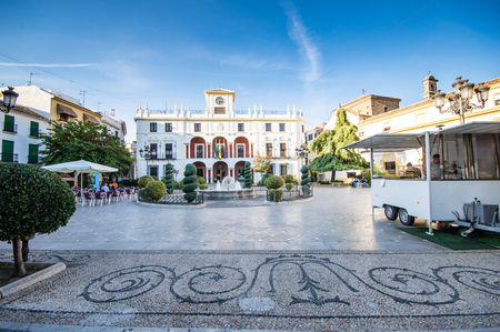 PRIEGO DE CORDOBA, SPAIN - OCTOBER 13: traditional square on October 13, 2013 in Prigo de Cordoba, Spain. The town is on the northern slope of the Sierra de Priego. The population is near 24000.