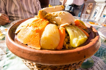 moroccan cuisine: cous cous with meat and vegetables  Stock Photo