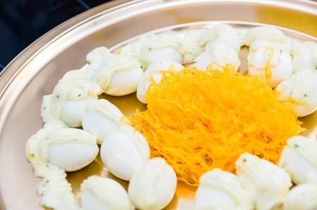 quail eggs and egg yolk photo