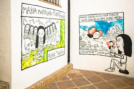 Permanent: Genalguacil, SPANJE - SEPTEMBER 07: Uitzicht op het historische centrum op 7 september 2014 in Genalguacil, Malaga, Spanje. Om de twee jaar, kunstenaars van over het doen van verschillende kunstwerken die vertrekken ook permanent blootgesteld in de straten. Redactioneel