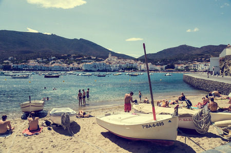CADAQUES, SPAIN - JULY 21: View of Cadaques, one of the most touristic villages of Costa Brava, on July 21, 2014, in Port de la Selva, Catalonia, Spain. It is on a bay in the middle of the Cap de Creus peninsula, near Cap de Creus cape.