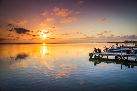VALENCIA, SPAIN - JULY 14: Group of tourist in Albufera on July 14, 2014 in Valencia, Spain The Albufera is a freshwater lagoon and estuary on the Gulf of Valencia coast of the Valencian Community in eastern Spain.