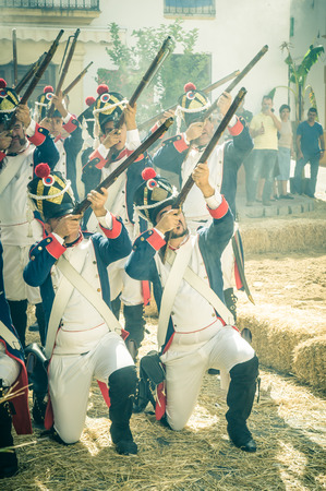 historical events: MONTEJAQUE, SPAIN - OCTOBER 19: Puente Battle on October 19, 2014 in Montejaque, Malaga, Spain. It is a recreation of the battle that was in 1810. Editorial