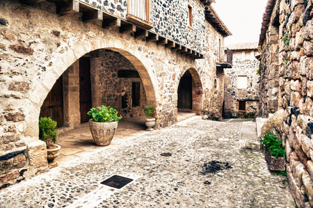 santas village: Santa Pau in Girona Catalonia Spain