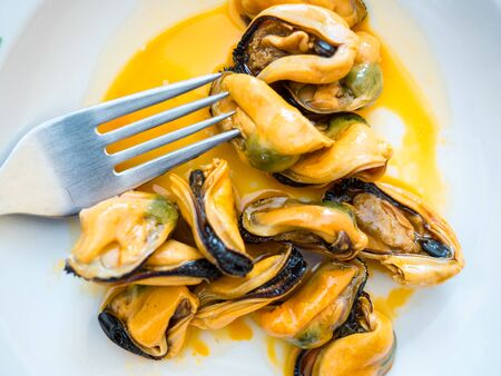 mussels: pickled mussels Stock Photo