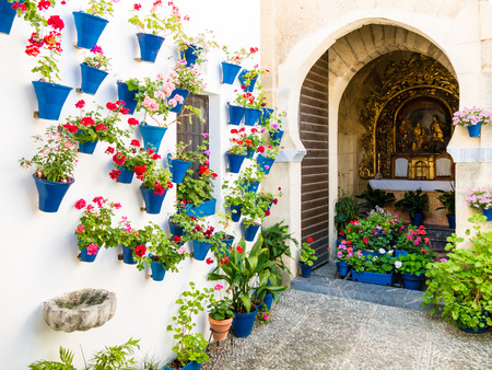 Flowers in flowerpot on the walls on streets of Cordoba, Spain Stock Photo