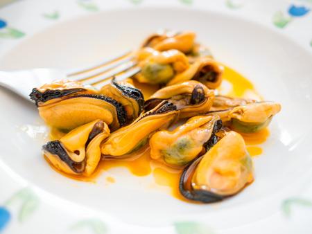 pickled mussels Stockfoto