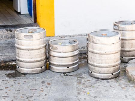 kegs: CORDOBA, SPAIN - MAY 08: beer kegs in a street on May 08, 2015 in Cordoba, Spain.