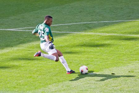 cameroonian: MALAGA - APRIL 29: Carlos Kameni, a Cameroonian in action during a Spanish league match: Malaga-Valencia at Rosaleda Stadium on April 29, 2012 in Malaga, Spain. Editorial