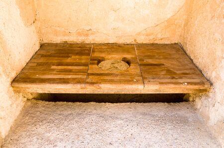 latrine: wooden latrine Stock Photo