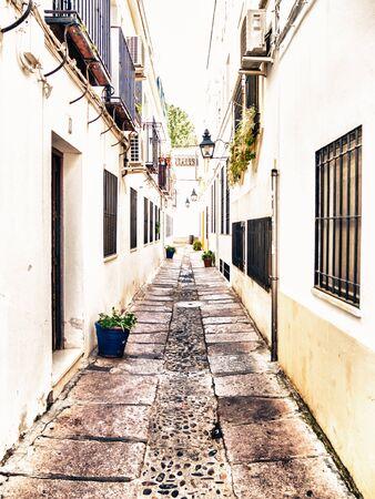 spanish homes: CORDOBA, SPAIN - MAY 08: typical street on May 08, 2015 in Cordoba, Spain.