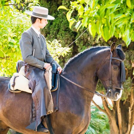 uomo a cavallo: CORDOBA, SPAGNA - 8 maggio: tradizionale andalusa cavaliere equitazione in un parco durante il Festival dei cortili il 08 maggio 2015 a Cordoba, Spagna.