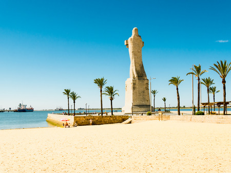 huelva: HUELVA, SPAIN - MAY 30: monument to Christopher Columbus on May 30, 2015 in Huelva, Spain. This city is in the confluence of the Odiel and Tinto rivers.