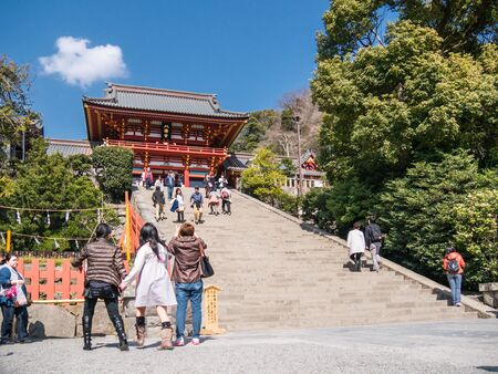dera: KAMAKURA, JAPAN - MARCH 22: Temple in Kamakura on March 22, 2015 in Kamakura, Japan. It is a city located in Kanagawa Prefecture and it has an estimated population of 174,412. Editorial