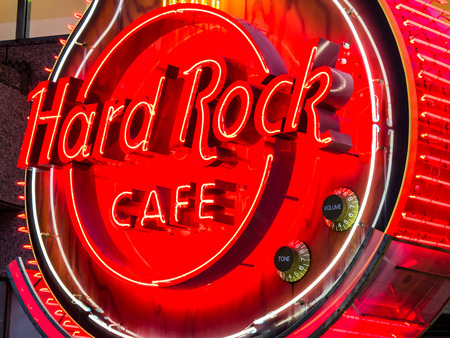 hard rock cafe: YOKOHAMA, JAPAN - MARCH 22: Hard Rock Cafe on March 22, 2015 in Yokohama, Japan. It is a chain of theme restaurants founded in 1971 by Americans Isaac Tigrett and Peter Morton in London. Editorial
