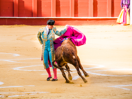 corrida de toros: MALAGA, ESPAÑA - 12 de agosto: corrida de toros el 12 de agosto, 2015, en Málaga, España. La Malagueta es la plaza de toros de Málaga (Andalucía, España), que se llevó a cabo el primer evento en 1876.