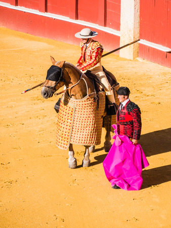 corrida de toros: MALAGA, SPAIN - AUGUST 16: bullfight on August 16, 2015 in Malaga, Spain. La Malagueta is the bullring at Málaga (Andalucia, Spain) which first event was held in 1876.