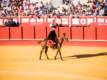 bull rings: MALAGA, SPAIN - AUGUST 16: bullfight on August 16, 2015 in Malaga, Spain. La Malagueta is the bullring at Málaga (Andalucia, Spain) which first event was held in 1876.