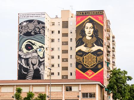 obey: MALAGA, ESPAÑA - 08 de agosto: Zona Soho el 08 agosto, 2015, en Málaga, España. Es la segunda ciudad más poblada de Andalucía y la sexta más grande de España. Editorial