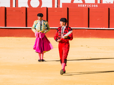 corrida de toros: MALAGA, SPAIN - AUGUST 12: bullfight on August 12, 2015 in Malaga, Spain. La Malagueta is the bullring at Málaga (Andalucia, Spain) which first event was held in 1876. Editorial