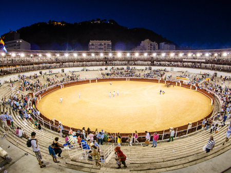 bull rings: MALAGA, SPAIN - AUGUST 22: bullfight on August 22, 2015 in Malaga, Spain. La Malagueta is the bullring at Málaga (Andalucia, Spain) which first event was held in 1876.