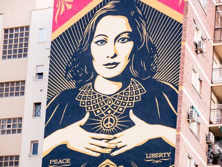 obey: MALAGA, SPAIN - AUGUST 08: Soho Area on August 08, 2015 in Malaga, Spain. It is the second most populous city of Andalusia and the sixth largest in Spain.
