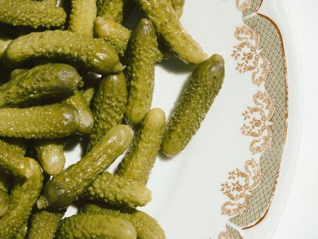 marinated gherkins: pickles Stock Photo