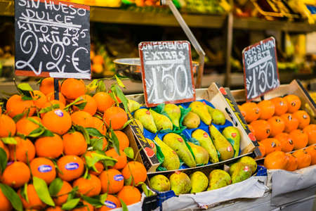 central market: MALAGA, SPAIN - JANUARY 16: food at central market on January 16 in Malaga, Spain. It was renovated in 2010 and it was reopened on March 2011.