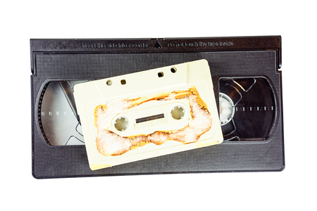 video cassette tape: Close-up of film cassette and video tape