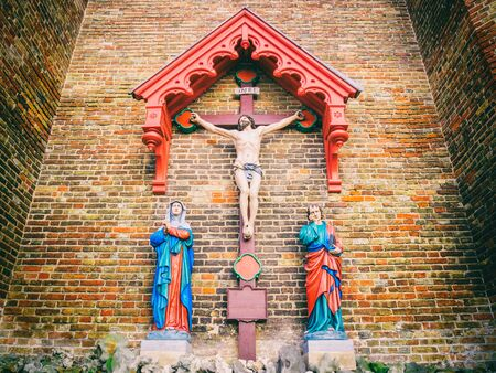 flemish: LISSEWEGE, BELGIUM - DECEMBER 12: Our Ladys Church (13th century) on December 12 in Lissewege, Belgium. It is a city and a municipality located in the Flemish region. Editorial