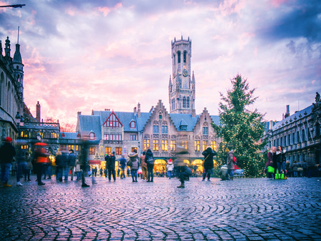 BRUGES, BELGIUM - DECEMBER 12: View of Bruges city center on December 12 in Bruges, Belgium. It is a city and a municipality located in the Flemish region.