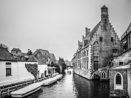 flemish: BRUGES, BELGIUM - DECEMBER 12: View of Bruges city center on December 12 in Bruges, Belgium. It is a city and a municipality located in the Flemish region.