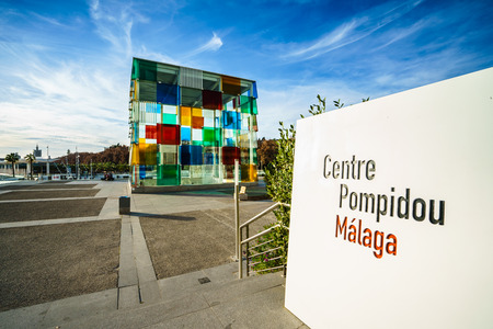 museum visit: MALAGA, SPAIN - JANUARY 23: Pompidou centre on January in Malaga, Spain. It is the second most populous city of Andalusia and the sixth largest in Spain. Editorial