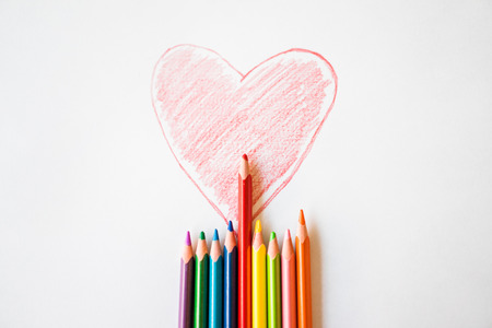 analogy: Painted red heart on paper Stock Photo