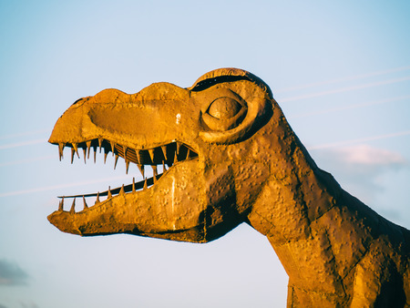 roadside stand: ARIZONA, USA - SEPTEMBER 06: dinosaur statue in historic Route 66 on September 06, 2015 in Arizona, United States. Route 66 was established on November 11, 1926