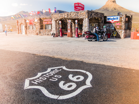 old service station: COOL SPRINGS, AZ, USA - SEPTEMBER 06: Cool Springs station on September 06, 2015 in Arizona, United States. It is a restored service station on old Route 66 in Arizona. Editorial