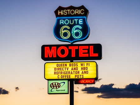 holidays vacancy: ARIZONA, USA - SEPTEMBER 06: Motel sign in historic Route 66 on September 06, 2015 in Arizona, United States. Route 66 was established on November 11, 1926.