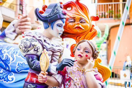 falla: ALZIRA,SPAIN - MARCH 17: Las Fallas,papermache models are constructed then burnt in the traditional celebration in praise of St Joseph on March 17,2016 in Alzira,Valencia,Spain. Editorial