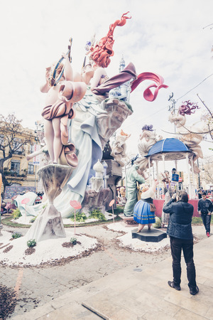falla: VALENCIA,SPAIN - MARCH 18: Las Fallas,papermache models are constructed then burnt in the traditional celebration in praise of St Joseph on March 18,2016 in Valencia,Spain. Editorial