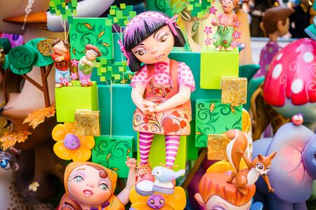 march 17: ALZIRA,SPAIN - MARCH 17: Las Fallas,papermache models are constructed then burnt in the traditional celebration in praise of St Joseph on March 17,2016 in Alzira,Valencia,Spain. Editorial