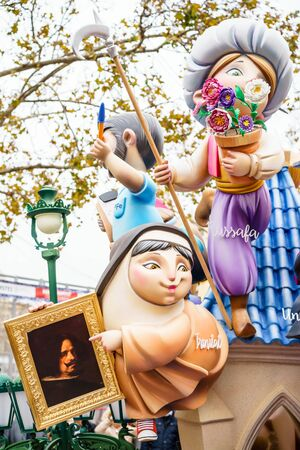 fallas: VALENCIA,SPAIN - MARCH 18: Las Fallas,papermache models are constructed then burnt in the traditional celebration in praise of St Joseph on March 18,2016 in Valencia,Spain. Editorial