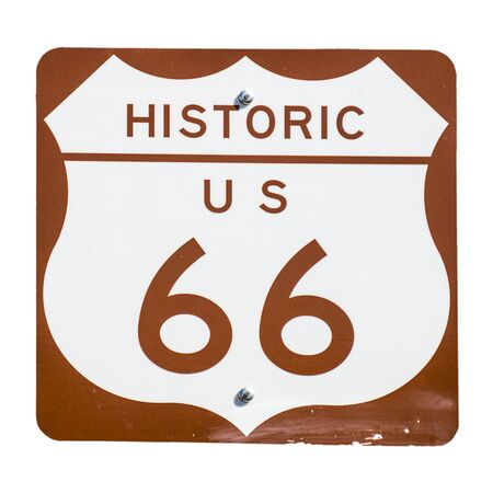 route: Old rusted Route 66 Sign
