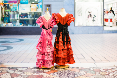 flamenco dress: Typical colored Spanish flamenco dress Stock Photo