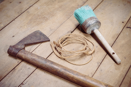 redecorate: Close-up of three tools on wooden background